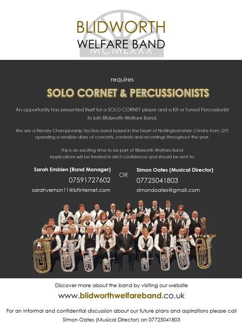 Solo Cornet & Percussionist Vacancies
