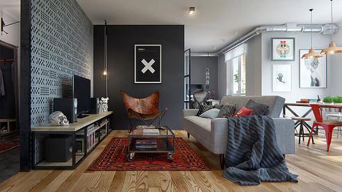 69 m² abiertos en vintage industrial