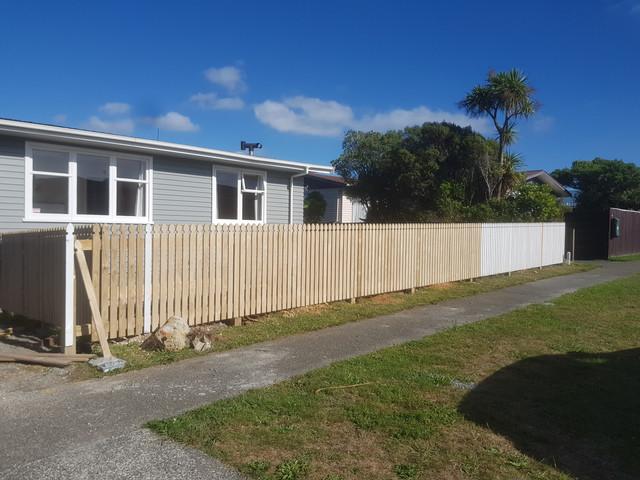 Picket fence under construction