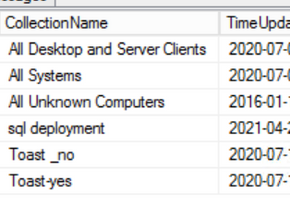 SQL Query to check when collection were last updated