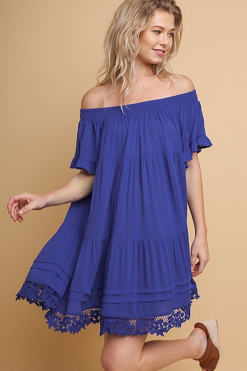 Off shoulder cobalt dress