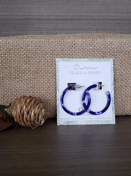 Argollas azul aretes