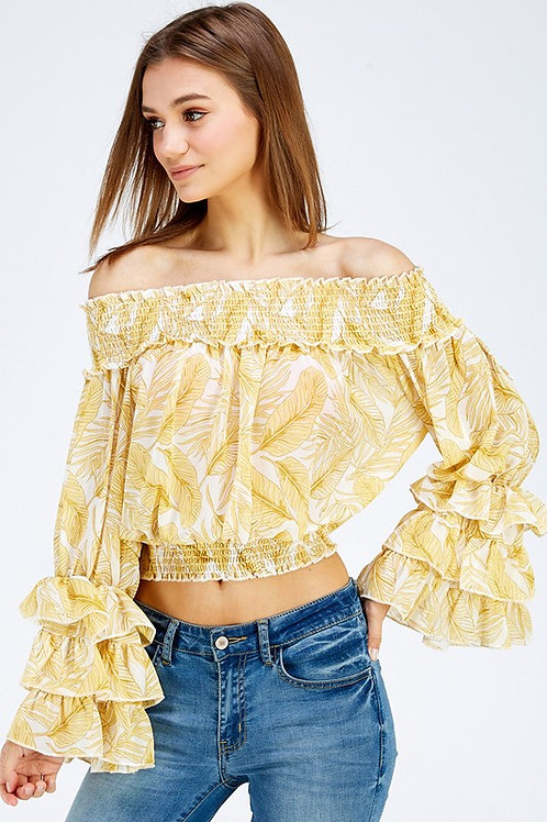 Off Shoulder Yellow Floral