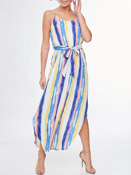 Multi blue striped dress