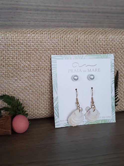 Set perlas y conchitas aretes