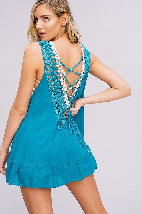 Crochet turquoise tank
