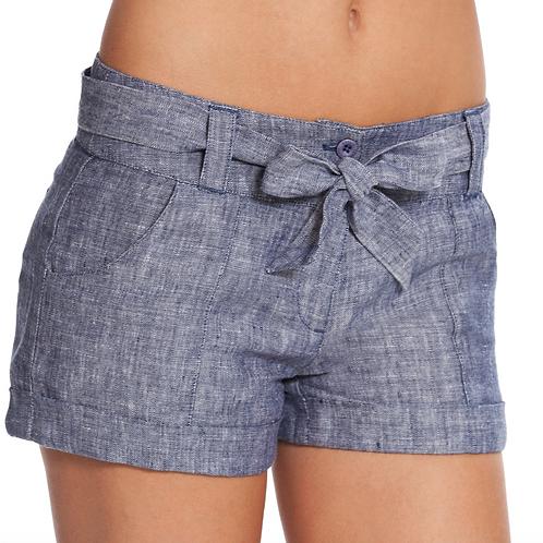 Short blue linen