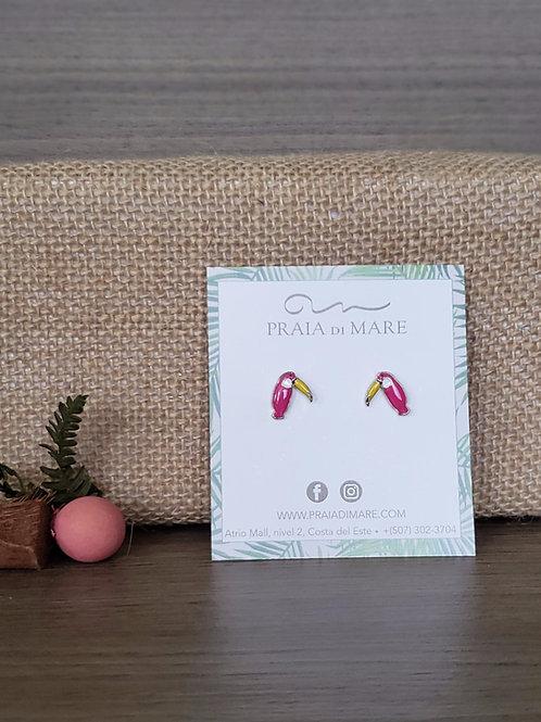 Tucan rosado aretes