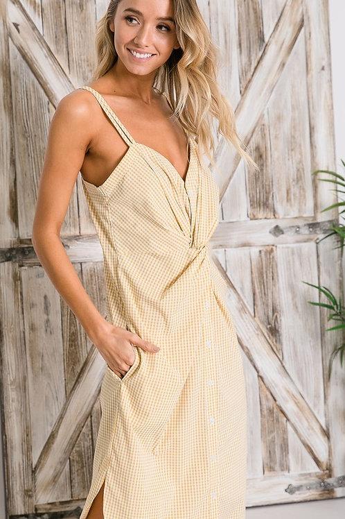 Gingham mustard dress
