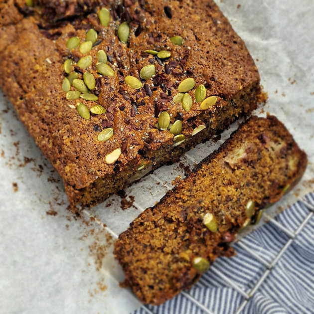 Banana, Olive Oil & Linseed Loaf w Cacao Nibs, Chia + Pumpkin Seeds