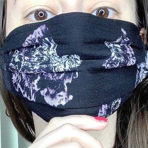 Lightweight Face Mask, Black Floral Mask