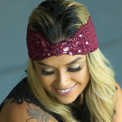 Wide Lace, Burgundy Turban Headband