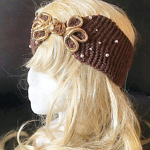 Mocha Pearls head-wrap