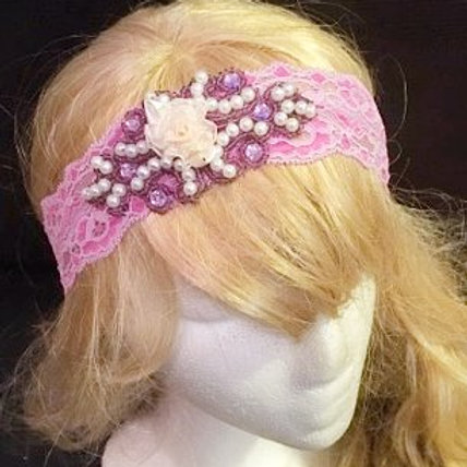Pink Floral lace headband