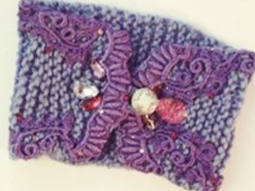 Periwinkle Purple, handknit headwrap, one of a kind sustainable