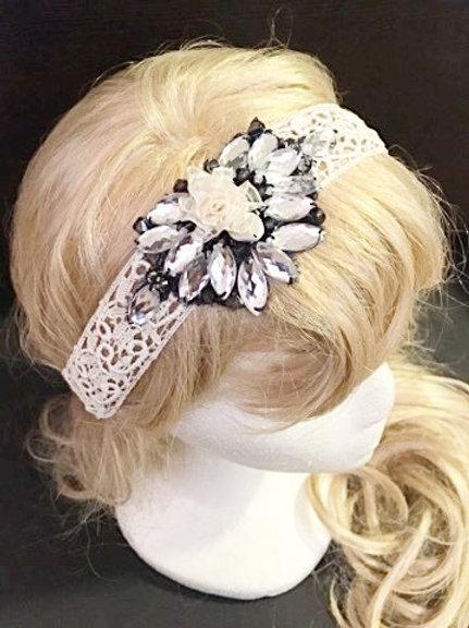 White Crochet flapper tiara