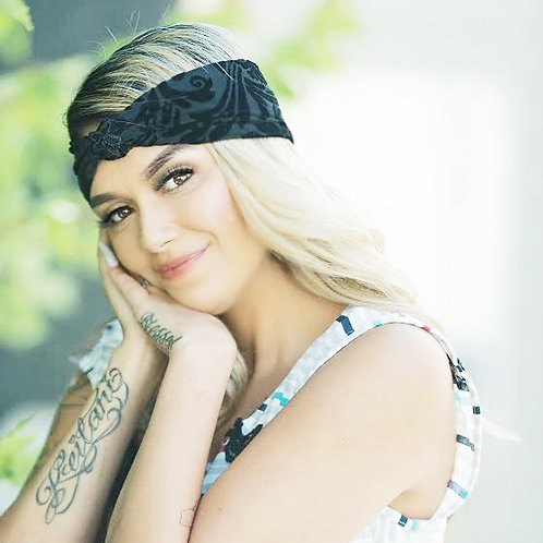 Black Velvet, knot turban headband