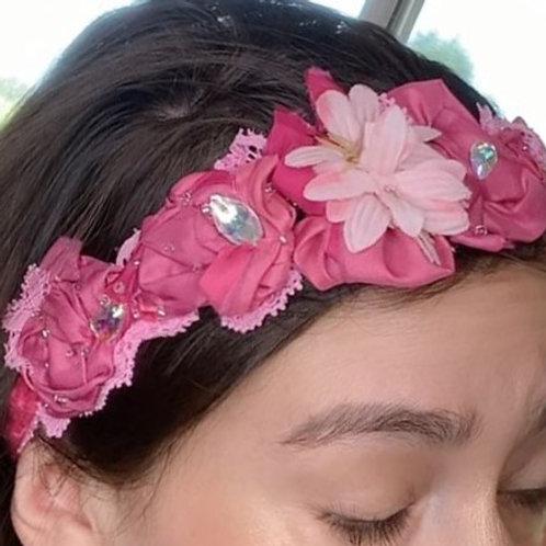 Pink Floral tiara