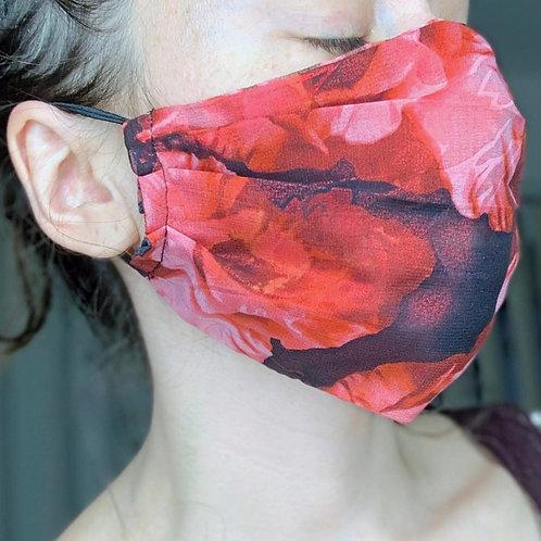 Chiffon Face Mask, Gothic Rose and Black