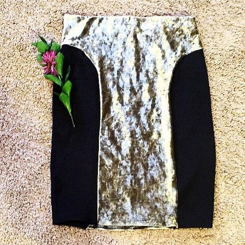Black Gold velvet pencil skirt