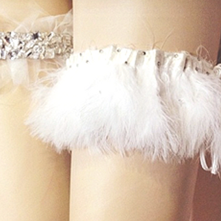 Bridal Garter with crystals and feathers