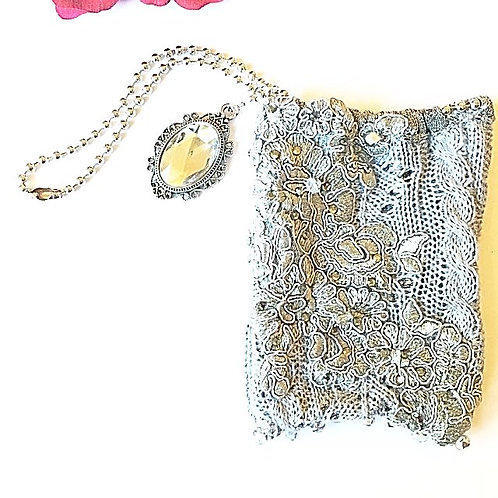 Silver Crystal drawstring pouch