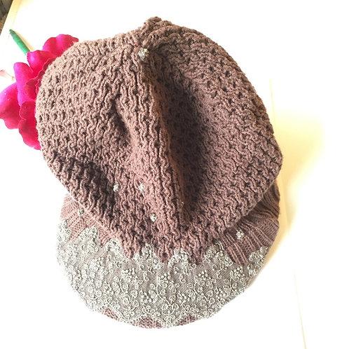 Gold & Brown beanie hat