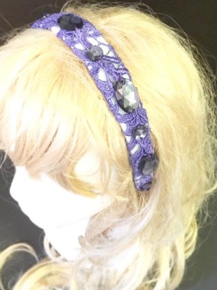 Purple Crochet, beaded tiara.