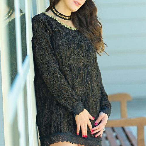 Woodgrain, long sleeve dress