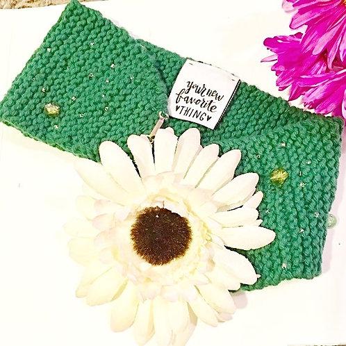 Green Daisy head-wrap