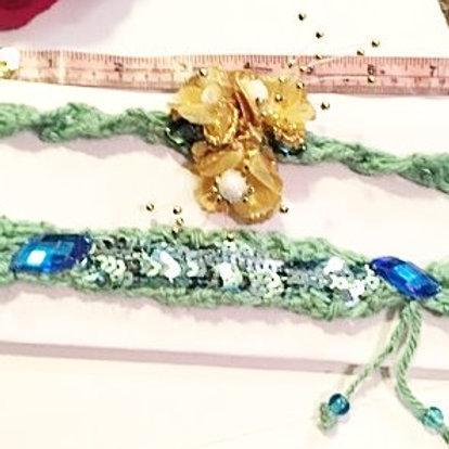 Green Knit headbands set of 2
