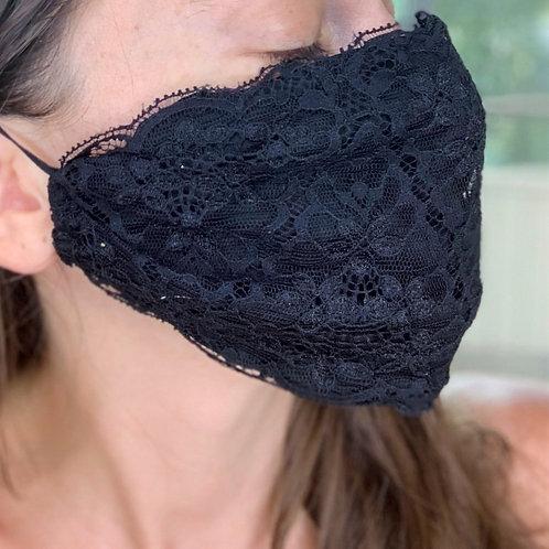 Black Lace Face Mask, plain black lace