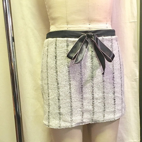 Cream knit mini skirt