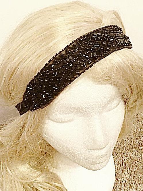 Black Beaded Elastic tiara