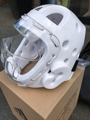 casque avec bulle plexiglass blanc