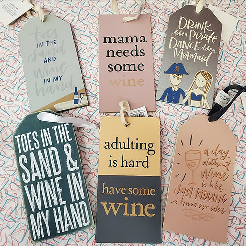 Wooden wine bottle tags
