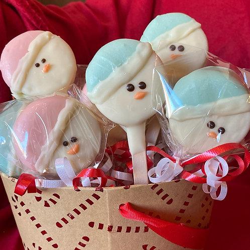 Snowman oreo pop