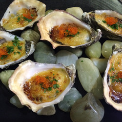 Grilled Oysters, Miso butter