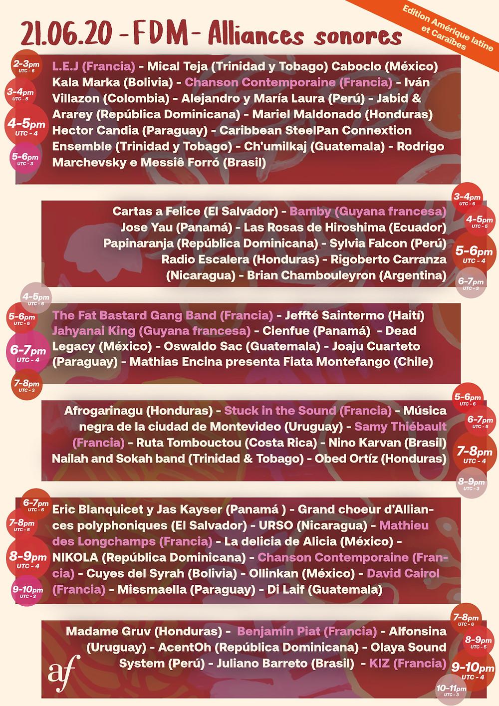 Programação Festa da Música 2020 Alianças Francesas América Latina e Caribe.