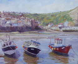 Staithes Fishing Boats,oil,45cm x 40cm