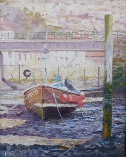 Staithes Beck Boat,oil,26cm x 20cm,may.J