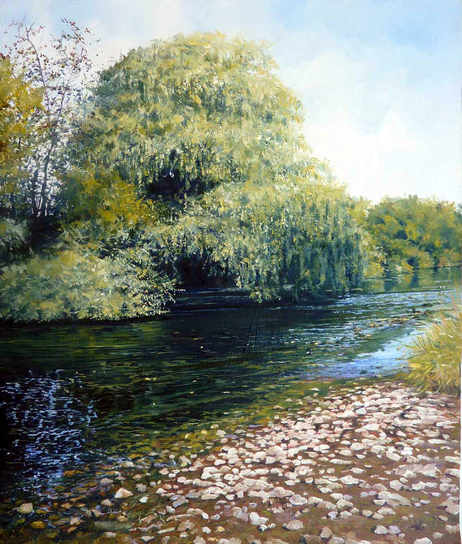 River Teme,oil,40cm x 30cm.