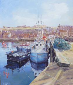 Whitby Inner Harbour,oil,45cm x 40cm