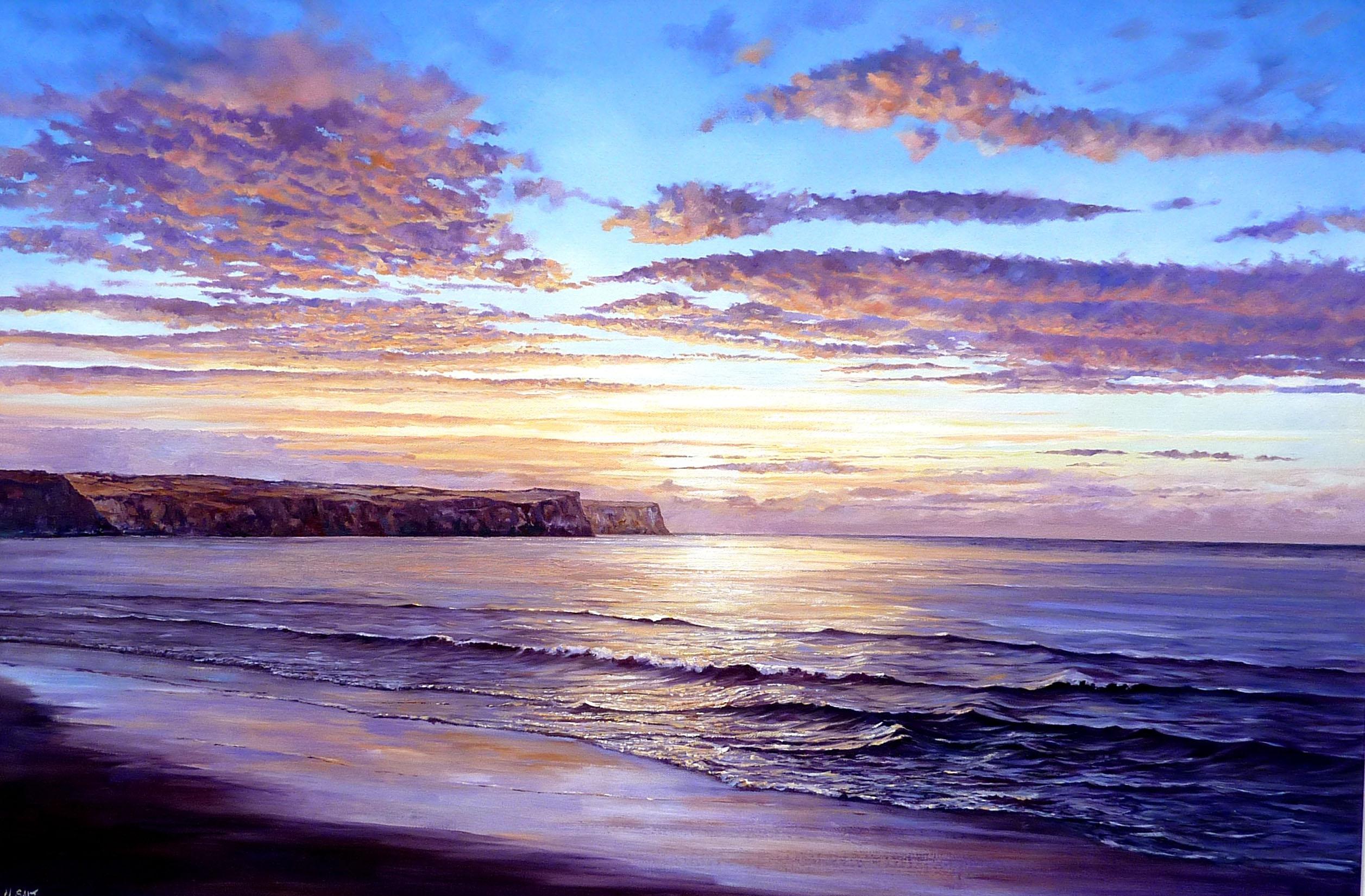 Sandsend Sunset, 76cm x 60cm ,oil