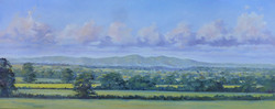 Malverns from the East,oil,76cm x 30cm.