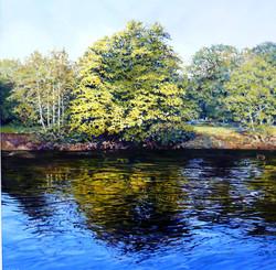 River Severn,Bewdley,oil,60cm x 60cm.