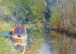 Canal Boat,oil,25cm x 30cm.JPG