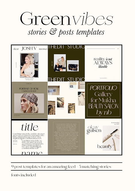 GREEN VIBES - POST & STORY TEMPLATES