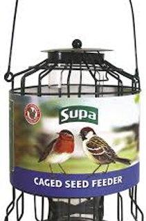 Caged bird seed feeder