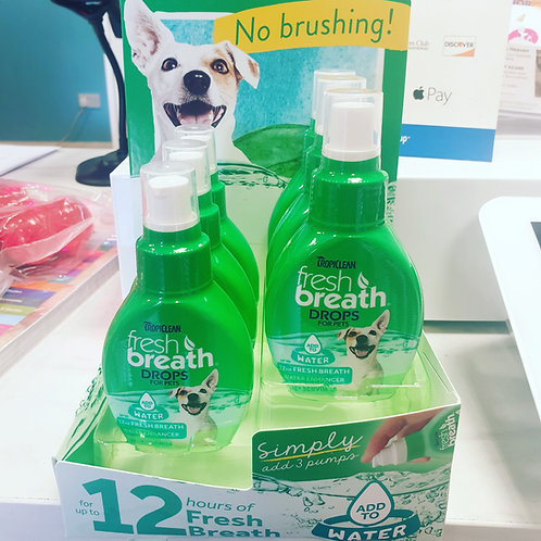 Tropiclean fresh breathe water drops 65ml bottle